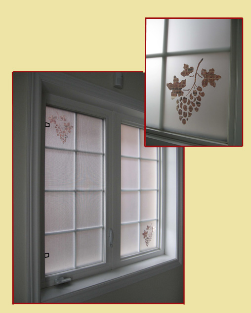 Decorative privacy window film with elegant grapes cut in fim for decorative enhancement