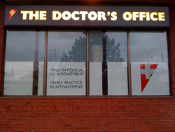 medical walk-in clinci window graphics
