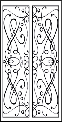 Double Door Pattern Dd4 Faux Wrought Iron Window Inserts