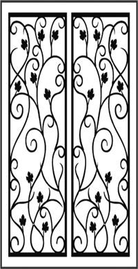 Double Door Pattern Dd8 Faux Wrought Iron Window Inserts