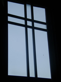 church sanctuary window before window film