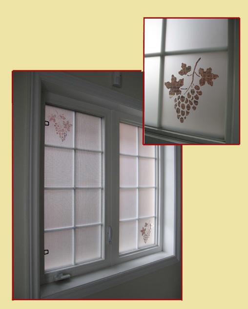 Decorative privacy window film with elegant grapes cut in fim for decorative enhancement