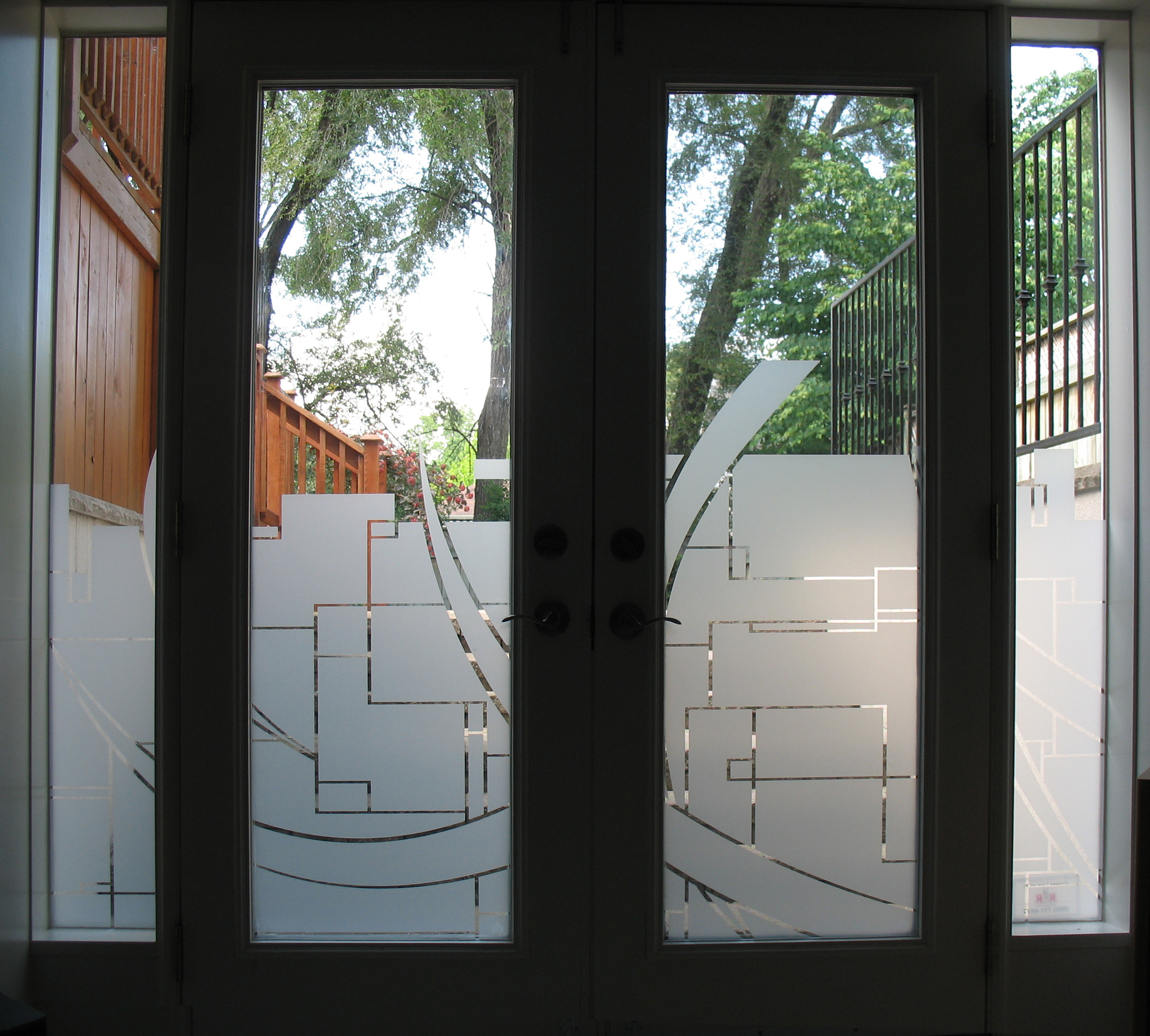 crescents custom graphic window film in residential door