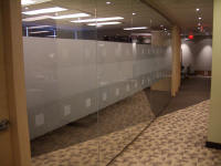 commercial graphic cut decorative privacy window film on interior glass