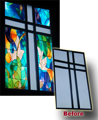 church sanctuary window faux stained glass with window film installed in Toronto