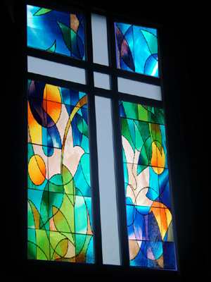 church sanctuary with faux stained glass window film installed int GTA