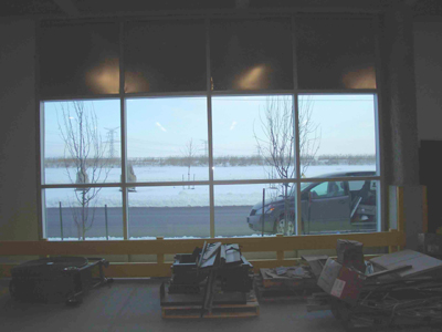 warehouse interior before privacy window film