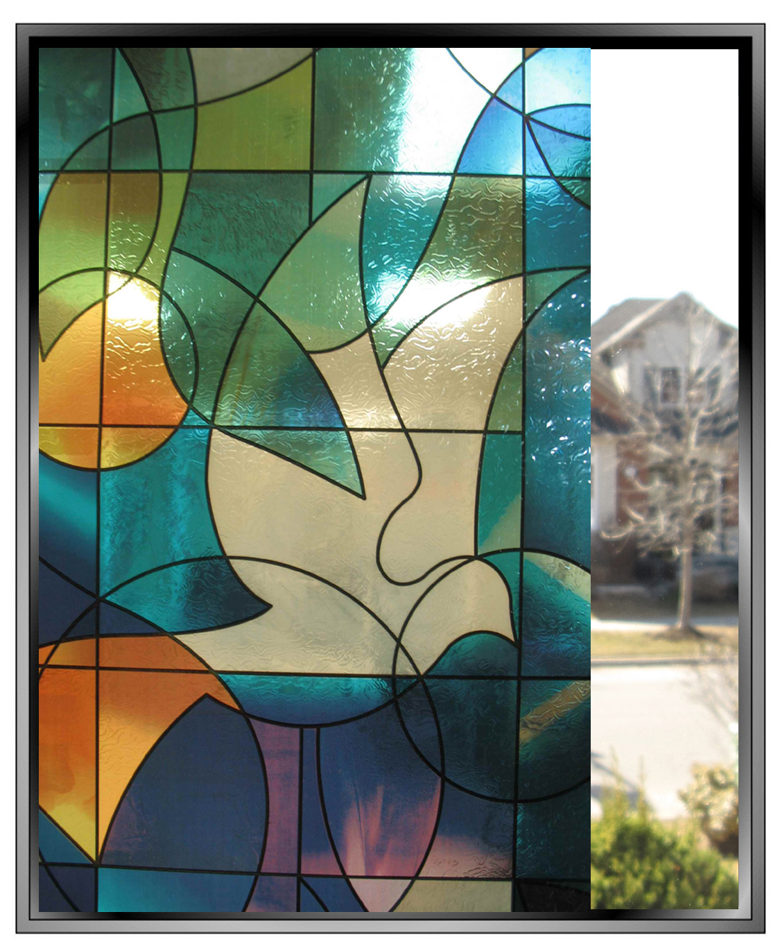 Stained Glass Window Patterns : Stained glass window film grasscloth wallpaper